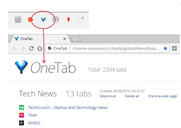 Productivity – Manage your Chrome browsing with OneTab
