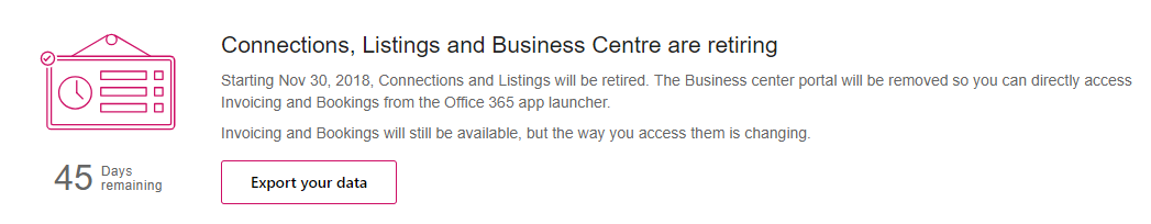 Office 365 – Goodbye Business Centre, Connector and Listings