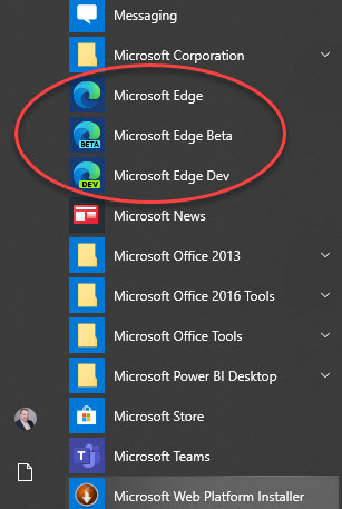 Microsoft Edge Browser in Start Menu